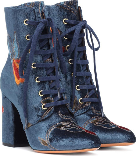 Etro Embroidered velvet ankle boots