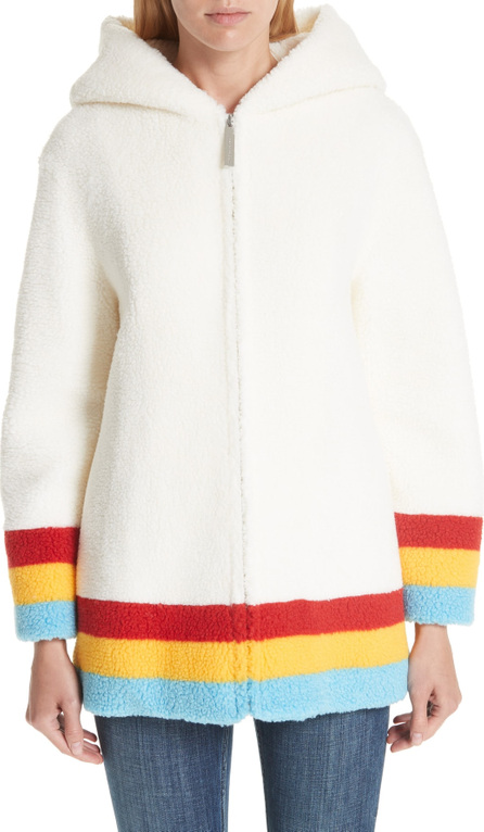 Burberry London England Craven Stripe Detail Fleece Coat
