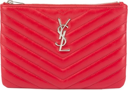 fd0f0fd6e199 Saint Laurent Monogram YSL Small Chevron Quilted Zip-Top Pouch Bag - Silver  Hardware