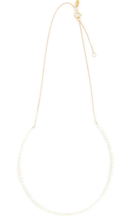 Sarah & Sebastian Akoya keshi pearl 10k gold necklace