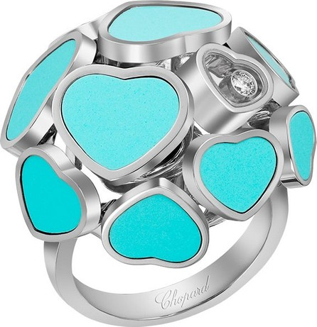 Chopard Happy Hearts 18k White Gold  Turquoise & Diamond Ring, Size 53