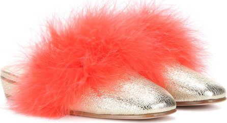 Alexander McQueen Feather-trimmed metallic leather mules