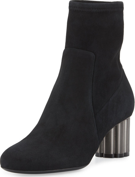 Salvatore Ferragamo Suede Midi Ankle Boot, Black