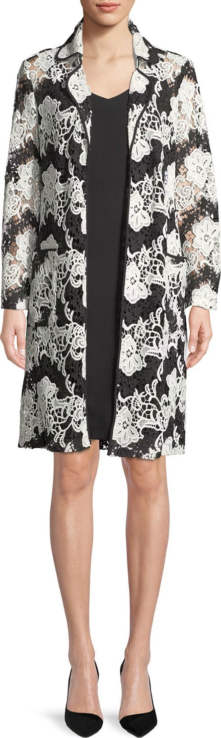 Albert Nipon Sleeveless Dress w/ Two-Tone Floral Lace Jacket Set
