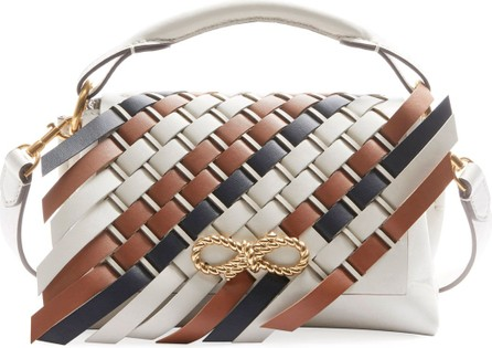 Anya Hindmarch Rope Bow Bag Mini Woven Flap in Soft Leather