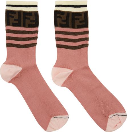 Fendi Pink FF Band Socks