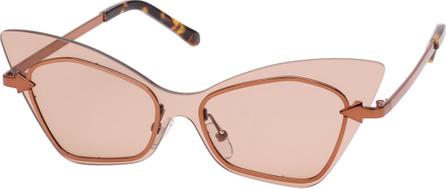 Karen Walker Mrs. Brill Cat-Eye Semi-Rimless Sunglasses, Brown Pattern