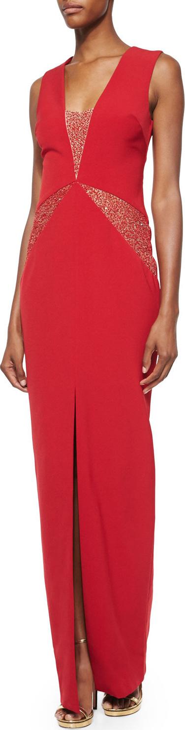 Rachel Gilbert Dimity Sequin-Inset V-Neck Gown