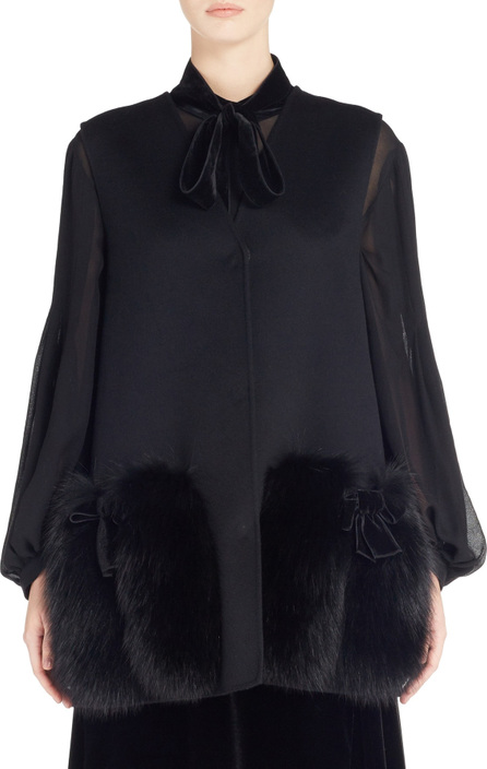 Fendi Wool Vest with Genuine Fox Fur Trim