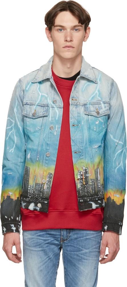 Amiri Indigo Denim City Dragon Trucker Jacket