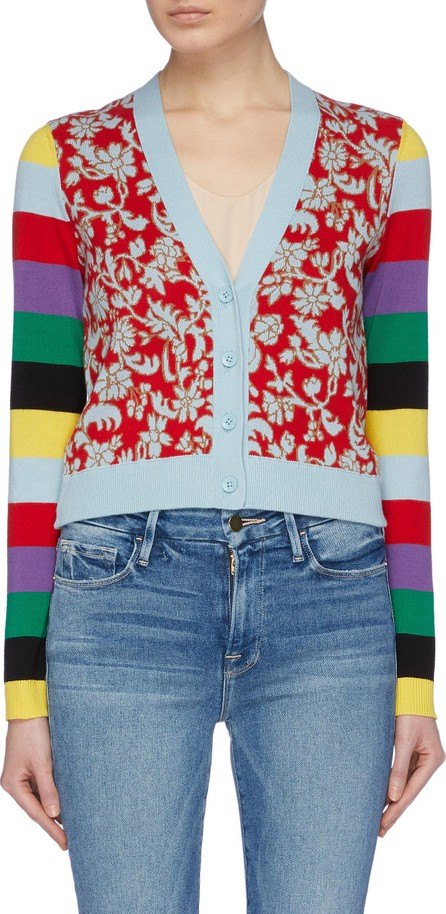 Alice + Olivia 'Minako' colourblock sleeve floral intarsia cardigan