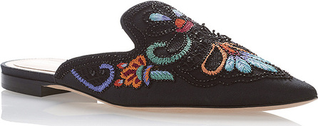 Alberta Ferretti Flat Mules with Flower Embroidery