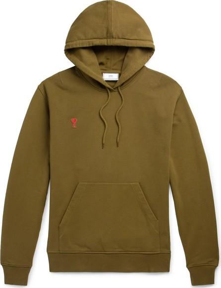 AMI Logo-Appliquéd Cotton-Jersey Hoodie