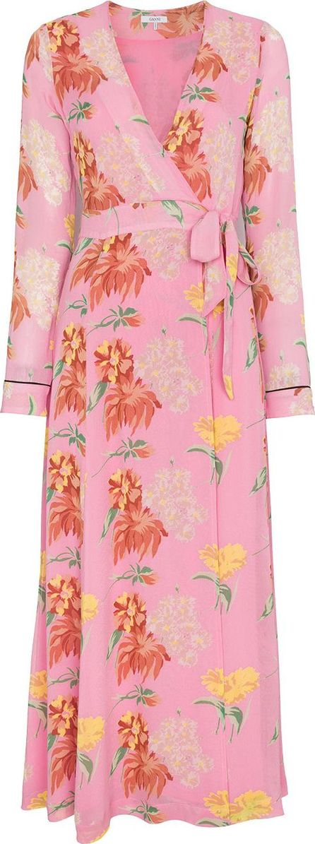 Ganni Pink Floral Marceau Georgette Maxi Dress