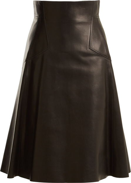 Alexander McQueen High-rise leather A-line skirt