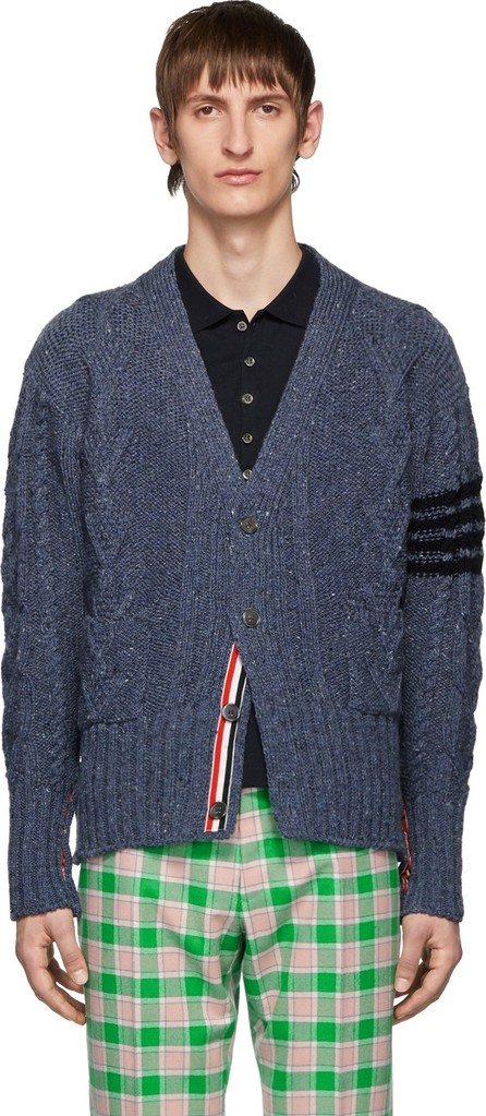 Thom Browne Blue Aran Cable 4-Bar Cardigan