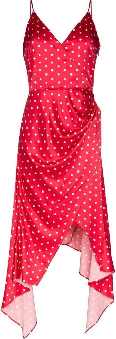 Haney Olivia asymmetric polka dot slip dress
