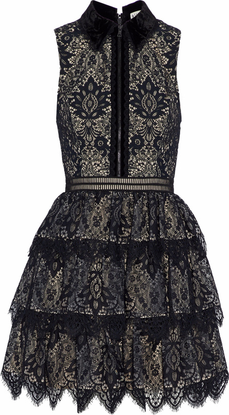 Alice + Olivia Velvet-trimmed tiered lace mini dress