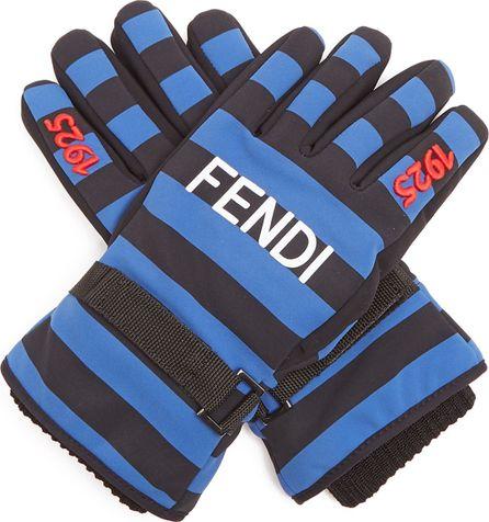 Fendi Striped logo-print gloves
