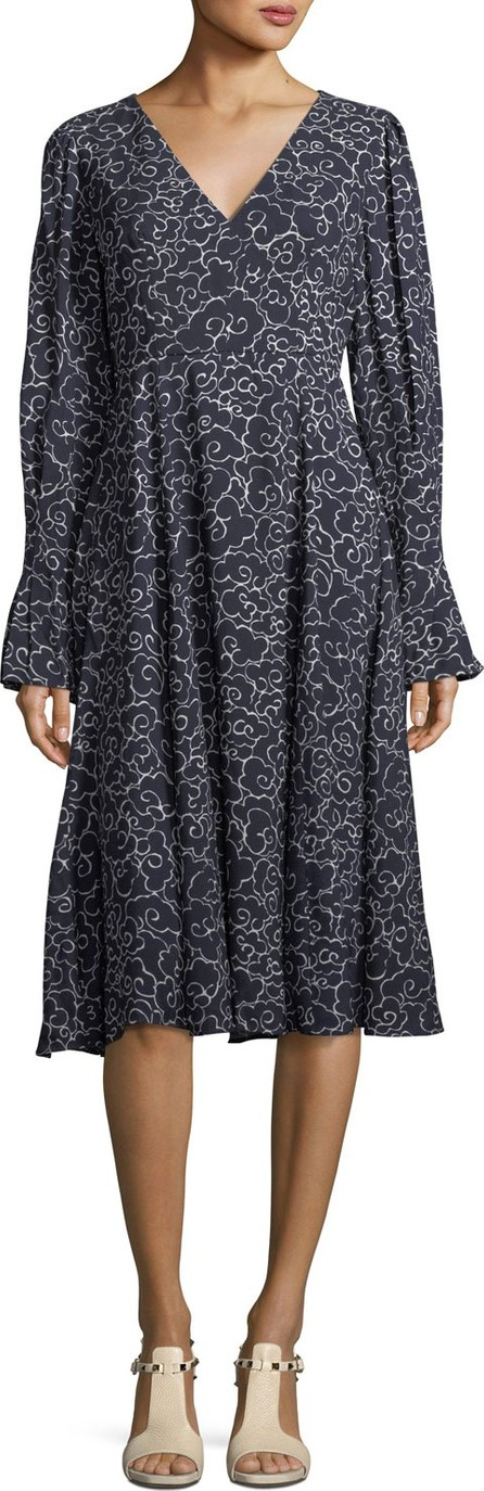 Alexa Chung V-Neck Long-Sleeve A-Line Printed Midi Dress