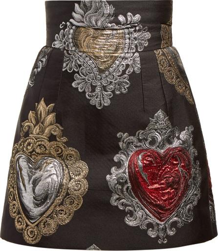 Dolce & Gabbana Heart-jacquard high-waist skirt