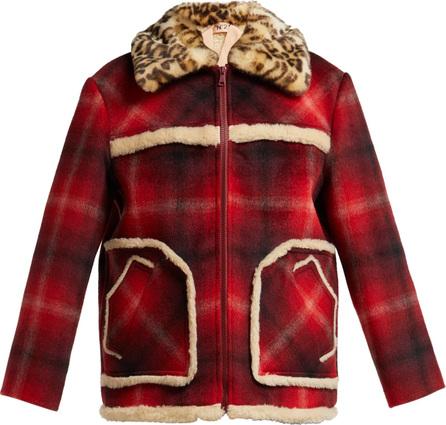Nº21 Leopard-print collar tartan jacket