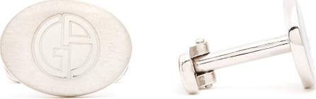 Giorgio Armani Logo-engraved silver cufflinks