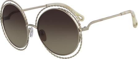 Chloe Carlina Round Concentric Metal Sunglasses