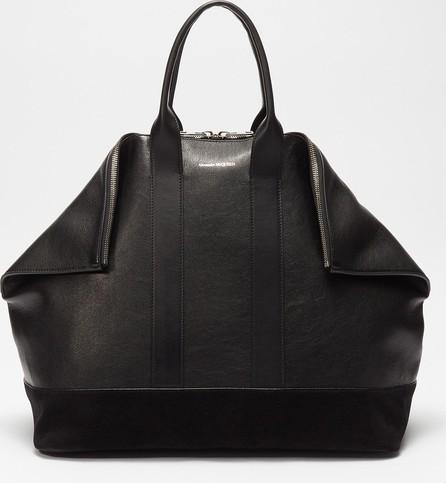Alexander McQueen 'East West De Manta' suede panel leather weekend bag
