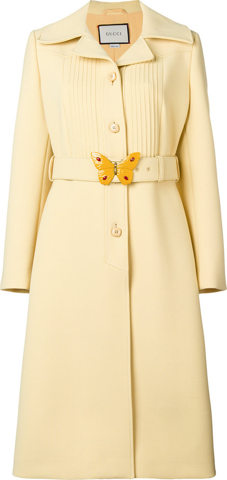Gucci Butterfly buckle notch collar coat