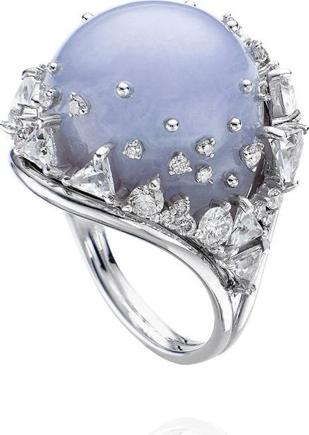 Fernando Jorge 18k White Gold Fusion Chalcedony Ring w/ Diamonds  Size 7