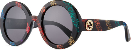 Gucci Glitter Striped Round Acetate Sunglasses