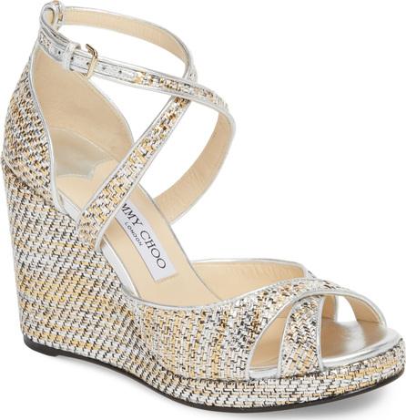 Jimmy Choo Alanah Metallic Wedge Sandal