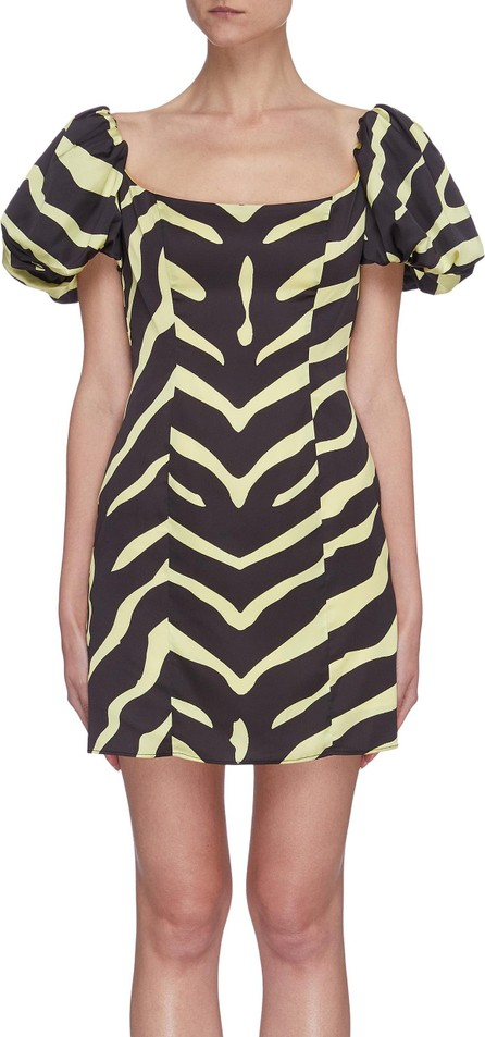 De La Vali 'Koko' puff sleeve tiger print satin dress