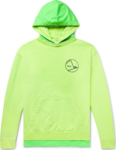 RHUDE Oversized Logo-Print Neon Ripstop-Trimmed Loopback Cotton-Jersey Hoodie