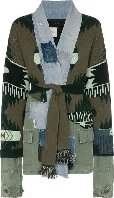 Alanui Icon Denim Patchwork Knit Cardigan