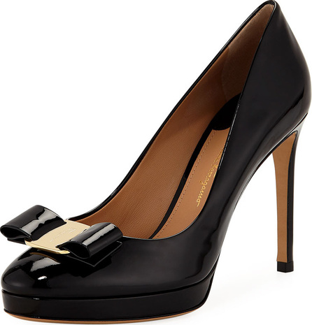 Salvatore Ferragamo Patent Platform Pump with Vara Bow