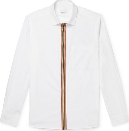Burberry London England Slim-Fit Striped Grosgrain-Trimmed Cotton-Blend Oxford Shirt