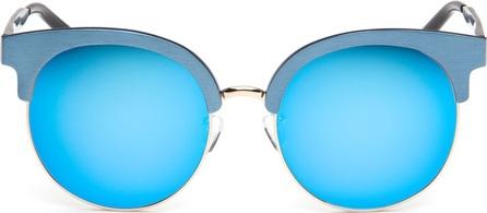 Matthew Williamson Wire rim oversized aluminium mirror sunglasses