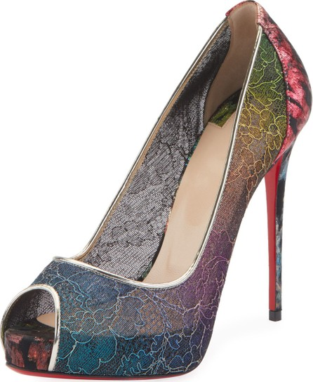 5b65a7ae32dd Christian Louboutin Very Lace 120mm Rainbow Peep-Toe Red Sole Pumps