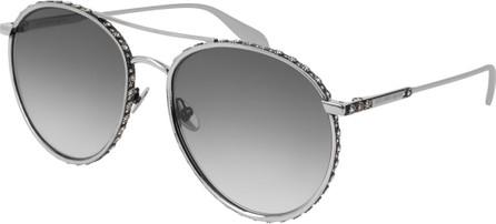 Alexander McQueen Round Gradient Sunglasses w/ Crystal Trim