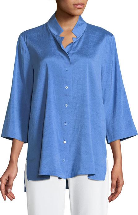 Eileen Fisher Doupioni Stand-Collar Silk Shirt