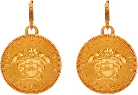 Versace Medusa coin brass earrings