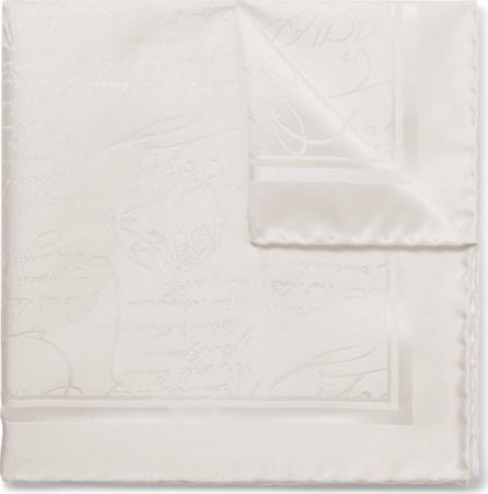 Berluti Scritto Mulberry Silk-Jacquard Pocket Square