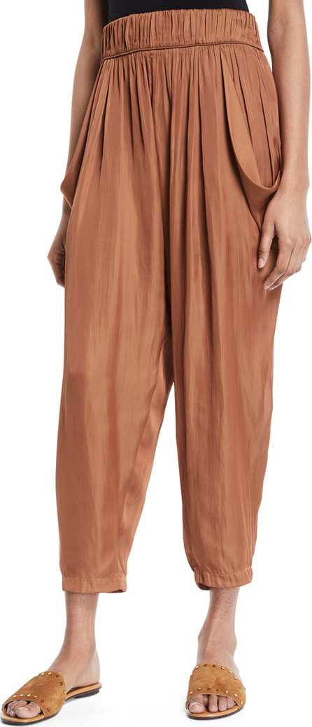 HALSTON HERITAGE Flowy Ruched Cropped Satin Pants