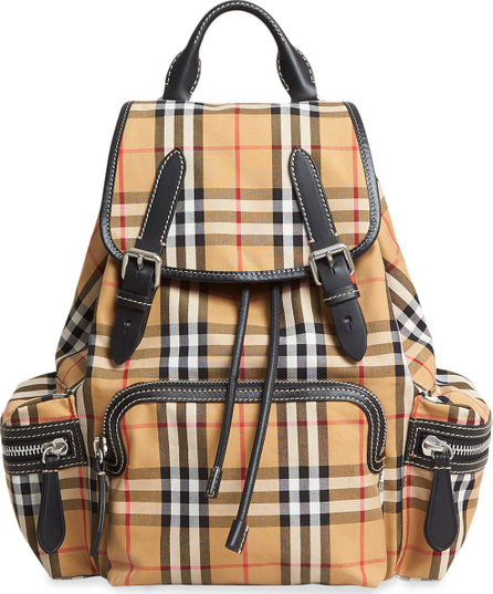 Burberry London England The Small Rucksack in vintage check and leather