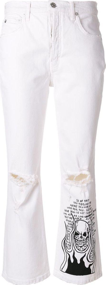 Adaptation skull print bootcut jeans