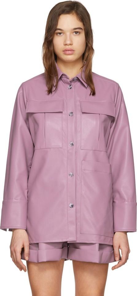 Aeron Purple Faux-Leather Blanche Shirt