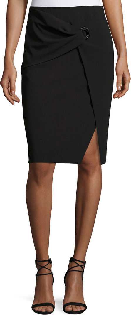Armani Collezioni Faux-Wrap Pencil Skirt, Black