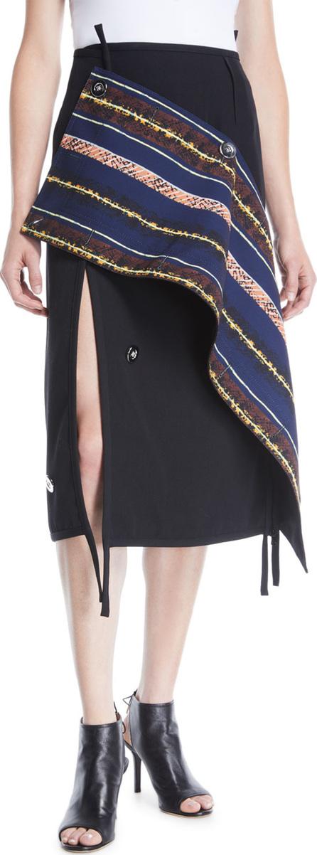 3.1 Phillip Lim Deconstructed Asymmetrical Wool Midi Skirt